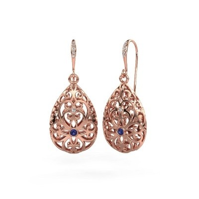 Picture of Drop earrings Idalia 2 375 rose gold sapphire 2 mm