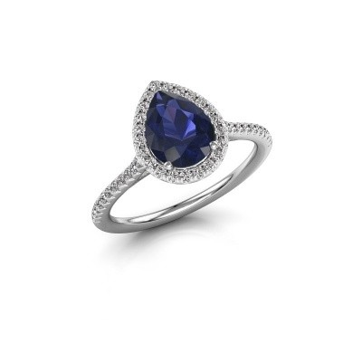 Picture of Engagement ring Monique 2 585 white gold sapphire 8x6 mm