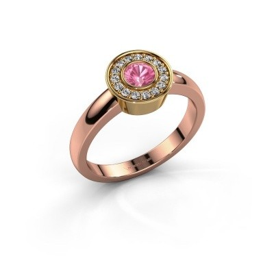 Ring Adriana 1 585 rosé goud roze saffier 4 mm