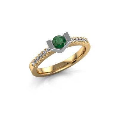 Verlovingsring Sherley 2 585 goud smaragd 4 mm
