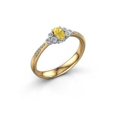 Verlobungsring Lucy 2 585 Gold Gelb Saphir 7x5 mm