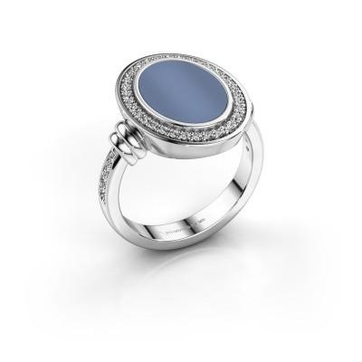 Foto van Heren ring Servie 925 zilver licht blauwe lagensteen 14x10 mm
