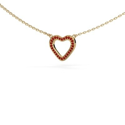 Pendant Heart 3 375 gold ruby 0.8 mm