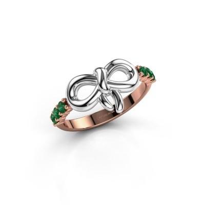 Ring Olympia 585 rosé goud smaragd 2.2 mm