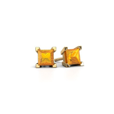 Photo de Clous d'oreilles Ariane 585 or jaune citrine 5 mm