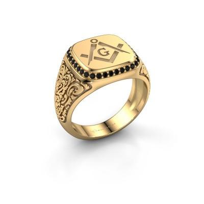 Men's ring Hugo 585 gold black diamond 0.306 crt