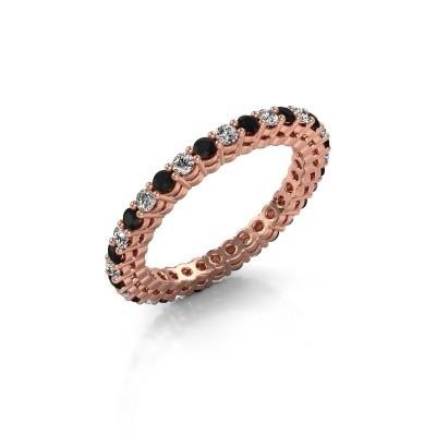 Aanschuifring Rufina 3 375 rosé goud zwarte diamant 0.986 crt