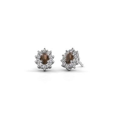 Picture of Earrings Leesa 585 white gold smokey quartz 6x4 mm