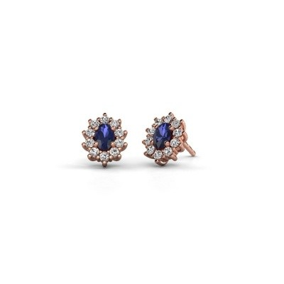 Picture of Earrings Leesa 375 rose gold sapphire 6x4 mm