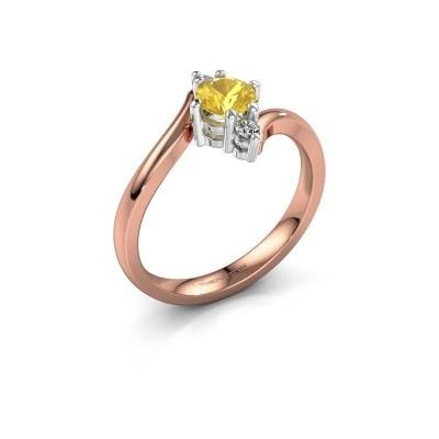 Foto van Verlovingsring Genna 585 rosé goud gele saffier 5 mm