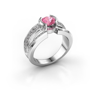 Foto van Heren ring Rowan 925 zilver roze saffier 6.5 mm