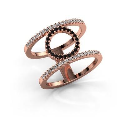 Ring Latoria 2 375 rosé goud zwarte diamant 0.43 crt