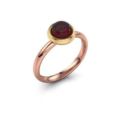 Ring Blossom 585 rosé goud granaat 6 mm
