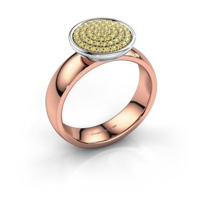 Foto van Ring Tilda 585 rosé goud gele saffier 1 mm