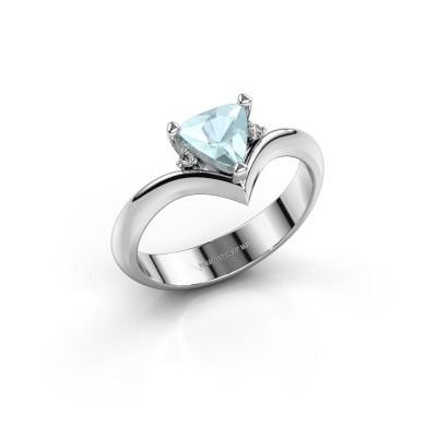 Ring Arlette 585 witgoud aquamarijn 7 mm