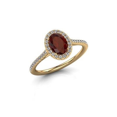 Engagement ring Seline 2 750 gold garnet 7x5 mm