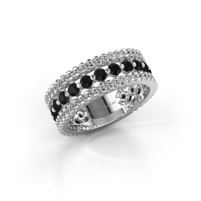 Engagement ring Elizbeth 2 585 white gold black diamond 1.994 crt
