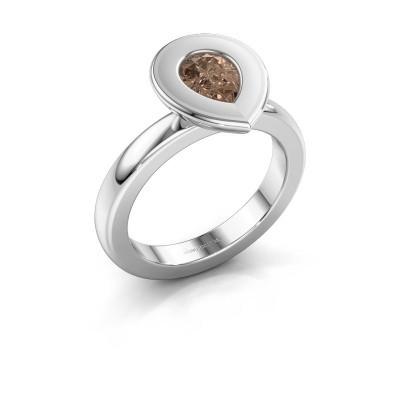 Stapelring Eloise Pear 585 witgoud bruine diamant 0.65 crt