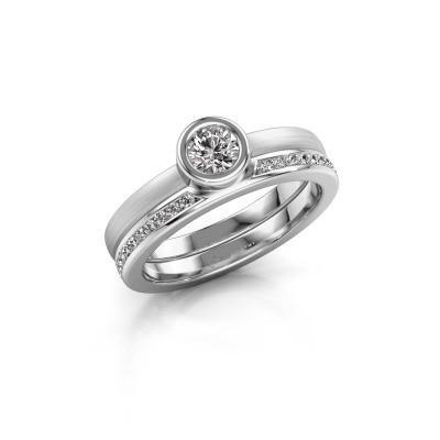 Foto van Ring Cara 950 platina zirkonia 4 mm