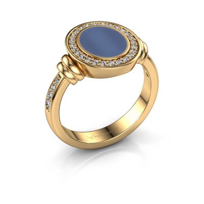 Picture of Signet ring Bailey 585 gold blue sardonyx 10x8 mm