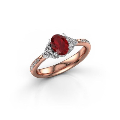Foto van Verlovingsring Aleida OVL 2 585 rosé goud robijn 7x5 mm