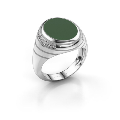 Zegelring Luuk 375 witgoud groene emaille 15x12 mm