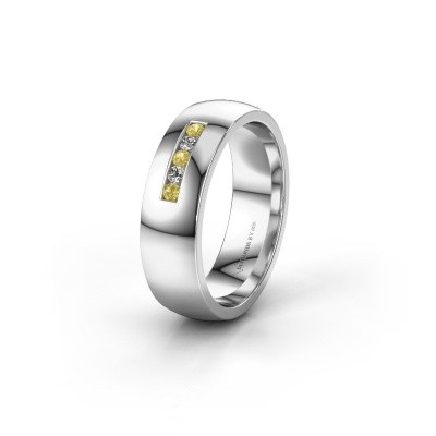 Wedding ring WH0107L26BP 375 white gold yellow sapphire ±0.24x0.08 in