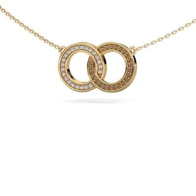 Foto van Ketting Circles 1 375 goud bruine diamant 0.23 crt
