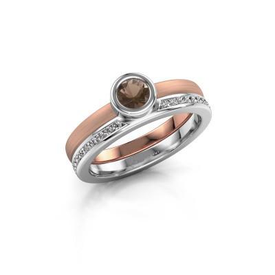 Picture of Ring Cara 585 rose gold smokey quartz 4 mm