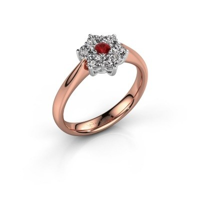 Promise ring Chantal 1 585 rosé goud robijn 2.7 mm