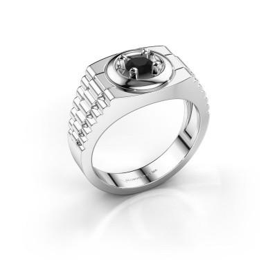 Foto van Rolex stijl ring Edward 585 witgoud zwarte diamant 0.48 crt