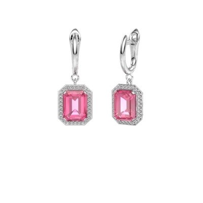 Drop earrings Dodie 1 585 white gold pink sapphire 9x7 mm