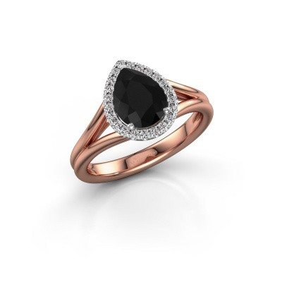 Verlovingsring Verla pear 1 585 rosé goud zwarte diamant 1.397 crt