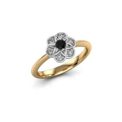Bague de fiançailles Uma 585 or jaune diamant noir 0.12 crt
