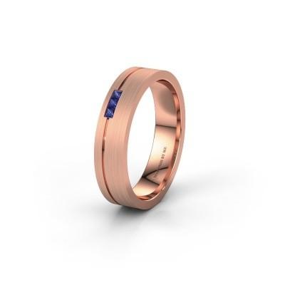 Trouwring WH0158L14X 375 rosé goud saffier ±4,5x1.4 mm