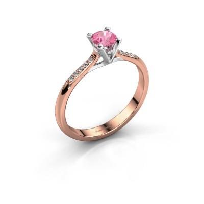 Foto van Aanzoeksring Isa 2 375 rosé goud roze saffier 4.2 mm