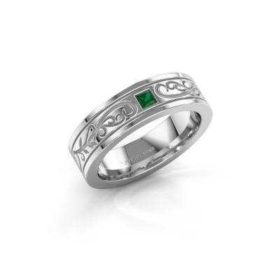 Foto van Heren ring Matijs 585 witgoud smaragd 3 mm
