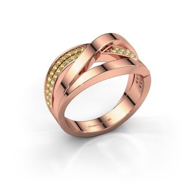 Ring Amira 375 rosé goud gele saffier 1.2 mm