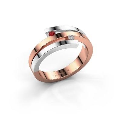 Ring Roxane 585 rosé goud robijn 2 mm