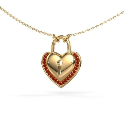 Foto van Halsketting Heartlock 585 goud robijn 1 mm