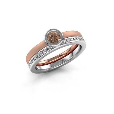 Foto van Ring Cara 585 rosé goud bruine diamant 0.69 crt