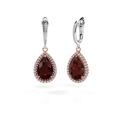 Drop earrings Hana 2 585 rose gold garnet 12x8 mm