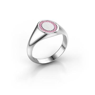 Foto van Zegelring Rosy Oval 1 375 witgoud roze saffier 1.2 mm