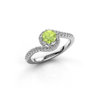 Engagement ring Elli 950 platinum peridot 5 mm