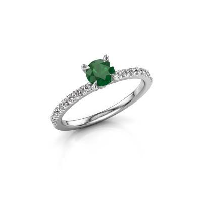 Foto van Verlovingsring Crystal rnd 2 925 zilver smaragd 5 mm