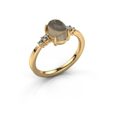 Ring Jelke 585 gold smokey quartz 8x6 mm