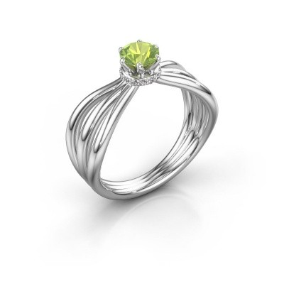Engagement ring Kimi 950 platinum peridot 5 mm