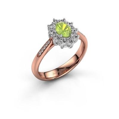 Engagement ring Leesa 2 585 rose gold peridot 6x4 mm
