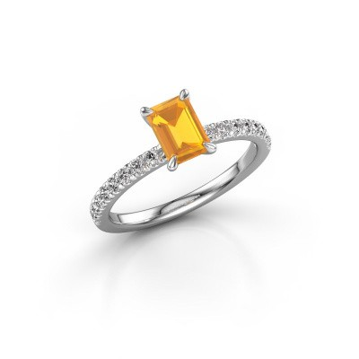 Foto van Verlovingsring Crystal EME 2 585 witgoud citrien 6.5x4.5 mm