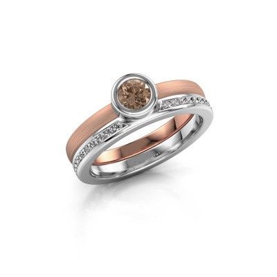 Foto van Ring Cara 585 rosé goud bruine diamant 0.62 crt